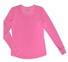HeartSoul Long Sleeve Underscrub Knit Tee Polka Dot Pink #20801 LEPI