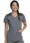 Dickies Dynamix Rounded V-neck Top in Heather Pewter DK621 HTPT