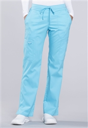 Cherokee Revolution Mid Rise Drawstring Pant #WW120 Turquoise