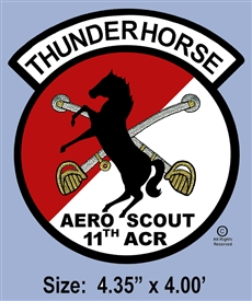 "11TH ACG AERO SCOUNTS ""THUNDERHORSE"" GOLD & SILVER PATCH"