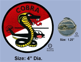 "AIR CAVALRY AERIAL WEAPONS COMPANY ""COBRA""  PATCH AND TAIL IN MOUTH COBRA PIN SET"
