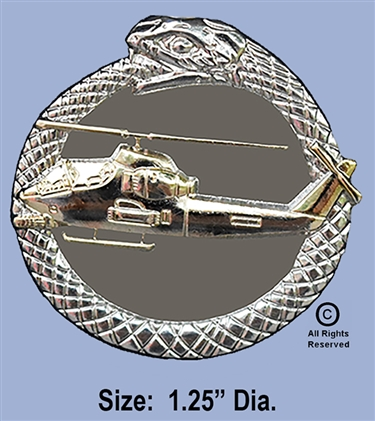 AH-1G COBRA TAIL IN MOUTH GOLD & SILVER SNAKE PIN