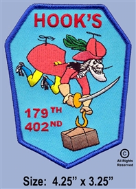 "179TH ASSAULT SUPPORT HELICOPTER COMPANY  ""HOOKS"" UNIT PATCH (2nd Design - Worn 1967 To 1972)"