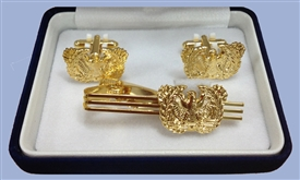 "WARRANT OFFICER ""EAGLE RISING""  GOLD CUFF-LINKS AND TIE_BAR SET"