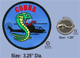 COBRA  SCHOOL PATCH AND COBRA TAIL IN MOUTH GOLD AND SILVER SNAKE PIN SET