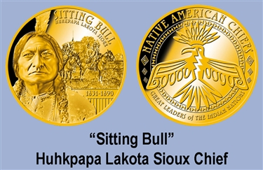 "Huhkpapa Lakota Sioux ""Sitting Bull"" US Gold Plated Coin"