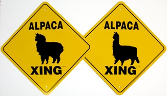 Alpaca Crossing Signs - 12""