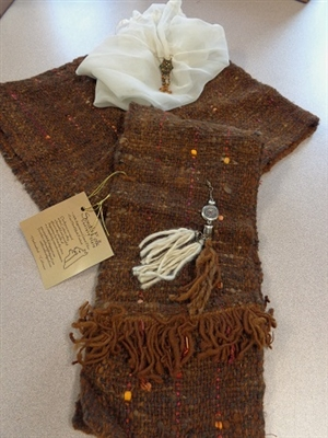 Handcrafted Argentine Llama Hooded Scarf - Brown Pockets