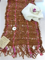 Handcrafted Argentine Llama Scarf - Pink/Brown
