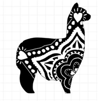 Boho Style Alpaca  Window Decal - Large