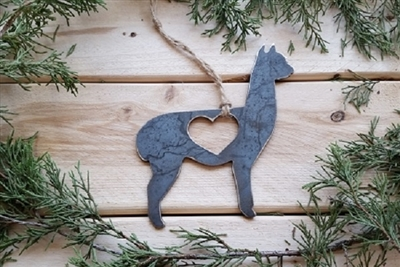 Alpaca  Love Rustic Steel Ornament