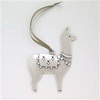 Handcrafted Pewter Llama or Alpaca Ornament