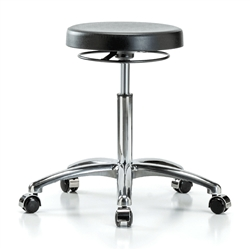 Perch Polyurethane Lab Work Stool in Chrome