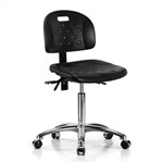 Perch Ergonomic Industrial Chair in Chrome with Handle