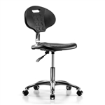 Perch Industrial Work Chair in Chrome with Handle