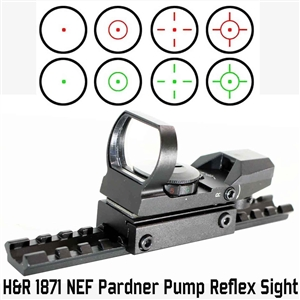 Trinity reflex sight and scope base mount for HR1871 NEF pardner pump picatinny weaver mount adapter hunting optics tactical accessory aluminum black.