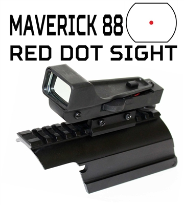 Trinity reflex red sight with rail mount for for maverick 88 12 gauge picatinny weaver base mount adapter aluminum black hunting optics tactical home defense accessory.