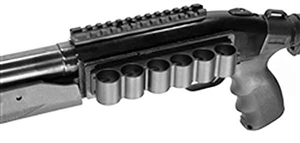 Trinity scope base mount and 12 gauge shell holder for mossberg 500 590 models picatinny weaver base mount adapter aluminum black hunting optics tactical target range home defense accessory.