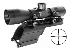 Trinity 4x32 compact scope and Saddle Mount For Mossberg 500 Maverick 88 12 gauge picatinny weaver base mount adapter aluminum hunting scope tactical target range home defense accessory.