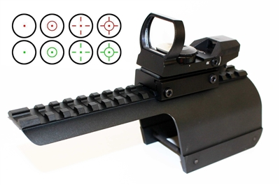 Red & Green 4 Reticle Reflex Sight With Mount For 12 Gauge Benelli Nova/Super Nova.