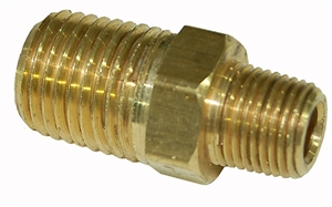 "Brass 1/8"" x 1/4"" NPT Hex Male Nipple - FA214."