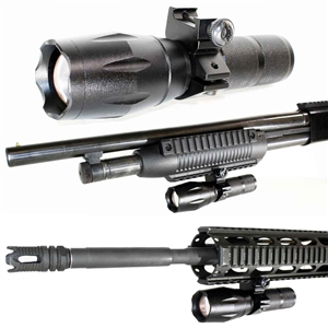 Trinity 1000 lumen led flashlight home defense hunting tactical picatinny weaver base mounted adapter aluminum black.