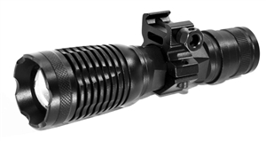 Trinity 1500 lumen strobe flashlight led home defense hunting tactical picatinny weaver base mounted adapter aluminum black.