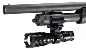 Trinity 1500 lumen strobe flashlight led with mount compatible with 12 gauge and 20 gauge shotguns.