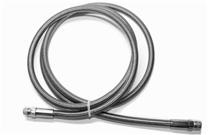 "Trinity 1/8 npt high pressure stainless steel braided hose line 60""."