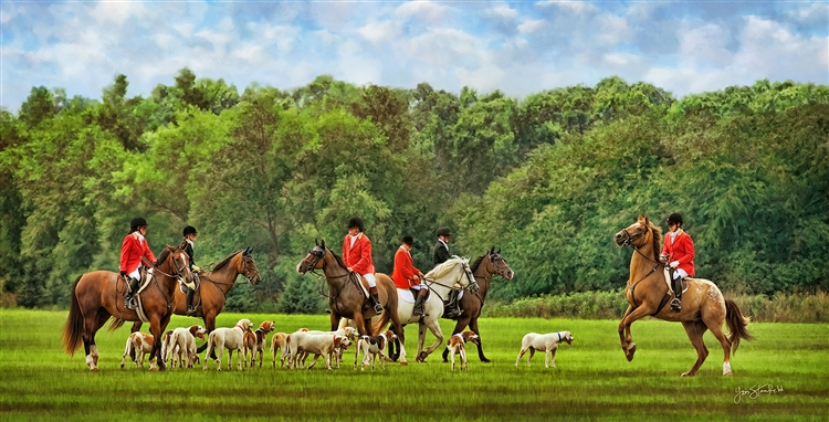 Gathering for the Hunt - Horse and dog by Lois Stanfield