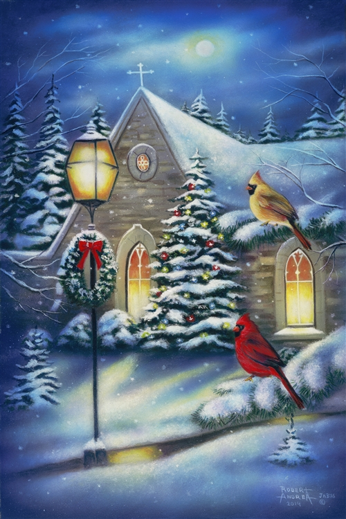 Courtyard Cardinals Christmas By Robert Andrea