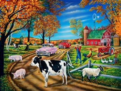 barn, cow, pigs, rooster, horse, tractor, farmer, cars
