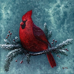 Cardinal Spirit-turquoise background  by Kyle Wood