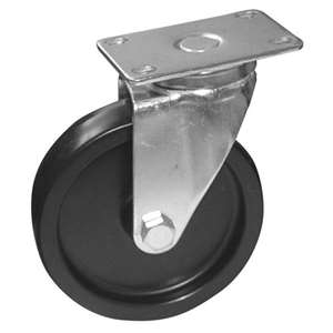 "6""H. Plate Style 2-3/8""x3-5/8"" Black Rubber Caster w/O Brake For Most Fryers & Ranges KP6025"