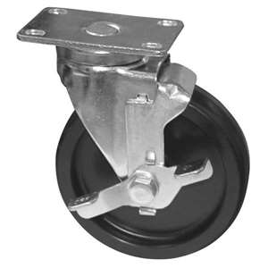 "6""H. Plate Style 2-3/8""x3-5/8"" Black Rubber Caster w/Brake For Most Fryers & Ranges KP6125"