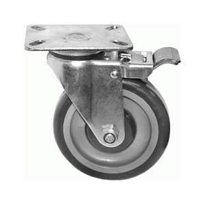 "6""H. Plate Style PU-Caster Total Lock Brake For Fryers, Kitchen Equipment & S/S Bus Carts KP6212"
