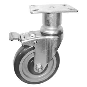 "6""H. Plate style 3-1/8""Wx4-1/8""L PU-Caster, Total Lock Brake, Height Adjustable For Range, Fryers & Kitchen Equipment KP6212A"