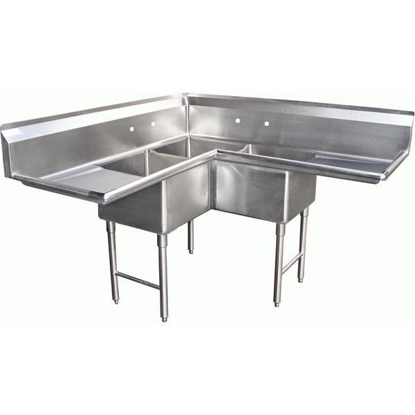 SE18183C 3 Compartment Corner L Shape Sink