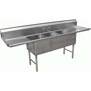 "SE18183D24 3 Compartment Kitchen 18"" x 18"" Sink"
