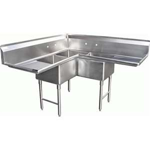 SH24243C 3 Compartment Corner L-Shape Sink