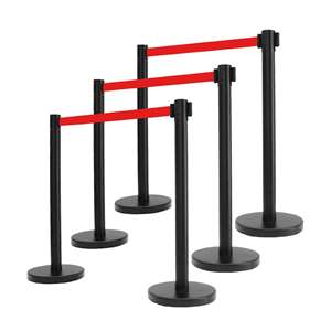 Apex ARN-6PC-BLK-RED VIP Series Elite Arena Tuff Tex Retractable Belt Stanchions