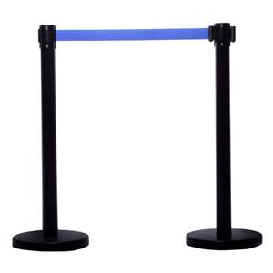 Apex ECO-2PC-BLK-BLU VIP Series Economy Tuff Tex Retractable Belt Stanchions