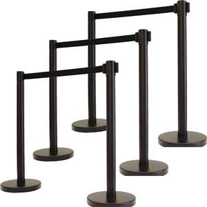 Apex HD-6PC-BLK-BLK VIP Series Heavy Duty Tuff Tex Retractable Belt Stanchions