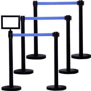 Apex HD-6PC-BLK-BLU-FRAME VIP Series Heavy Duty Tuff Tex Retractable Belt Stanchions