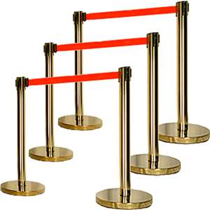 Apex HD-6PC-GLD-RED VIP Series Heavy Duty Retractable Belt Stanchions