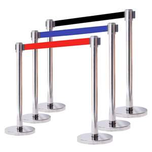 Apex HD-6PC-MIR-BLK VIP Series Heavy Duty Retractable Belt Stanchions