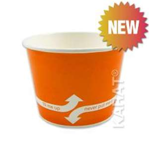 KARAT C-KDP12-O Double Poly Paper Hot/Cold Orange Food Container