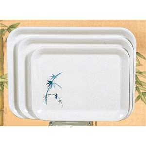 "Thunder Group 15 1 / 4"" X 11 1 / 2"" Tray (M), Blue Bamboo, 1 Dozen, THUND-0902BB"