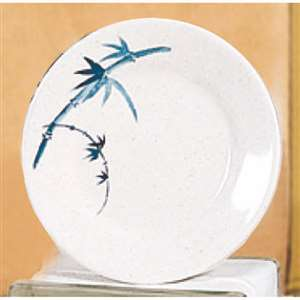 "Thunder Group 6 7 / 8"" Plate, Blue Bamboo, 1 Dozen, THUND-1007BB"