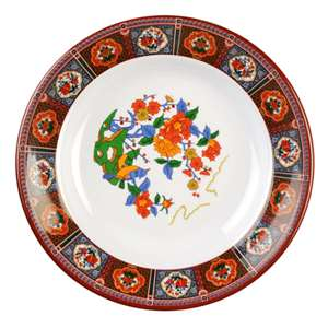 "Thunder Group 7 oz, 7 7 / 8"" Soup Plate, Peacock, 1 Dozen, THUND-1108TP"